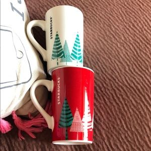 Starbucks christmas tree mug duo